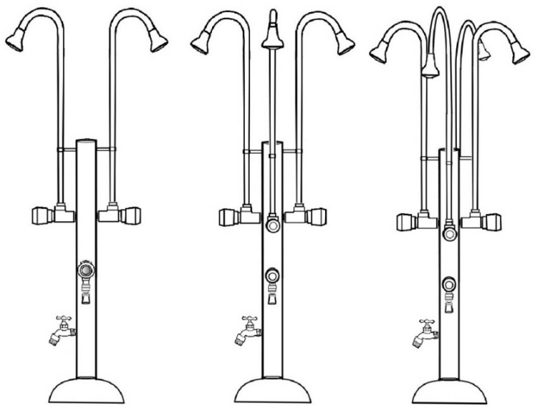 PS-3200, PS-3300, PS-3400 Outdoor Showers